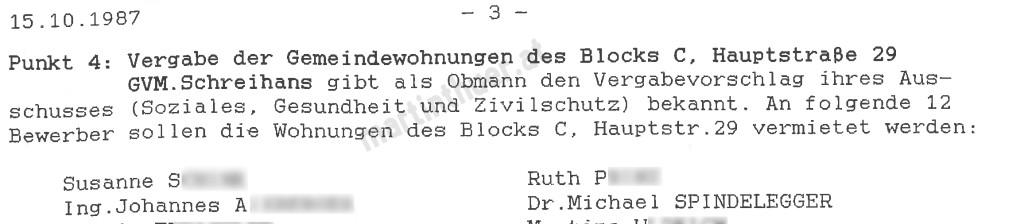Protokoll des Gemeinderates, 15. Oktober 1987