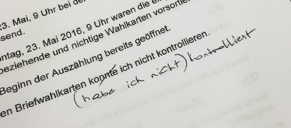 Auszug einer eidesstattlichen Erklärung einer FPÖ-Beisitzerin